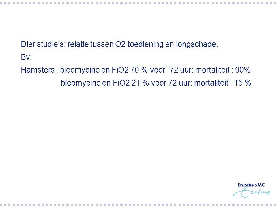  Dier studie's: relatie tussen O2 toediening en longschade.  Bv:  Hamsters : bleomycine en FiO2 70 % voor 72 uur: mortaliteit : 90%  bleomycine en