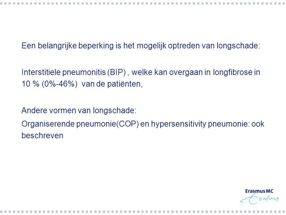  Een belangrijke beperking is het mogelijk optreden van longschade:  Interstitiele pneumonitis (BIP), welke kan overgaan in longfibrose in 10 % (0%-