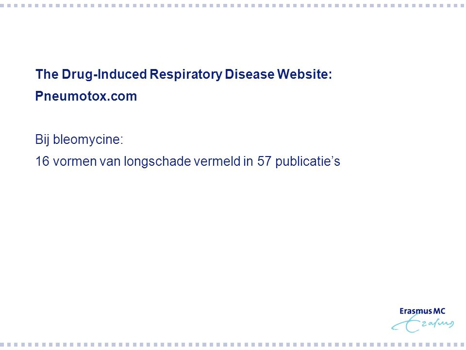  The first five patients who received bleomycin according to  the new protocol developed severe respiratory distress three to  five days after removal of the retroperitoneal lymph nodes or  pulmonary metastases.