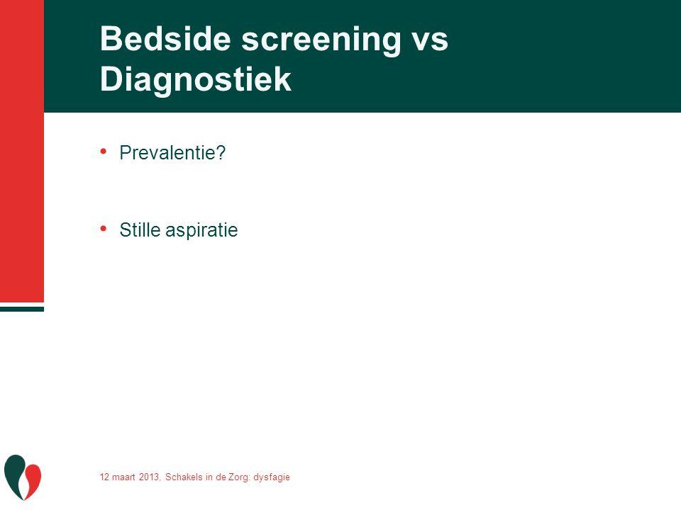 Bedside screening vs Diagnostiek Prevalentie? Stille aspiratie 12 maart 2013, Schakels in de Zorg: dysfagie