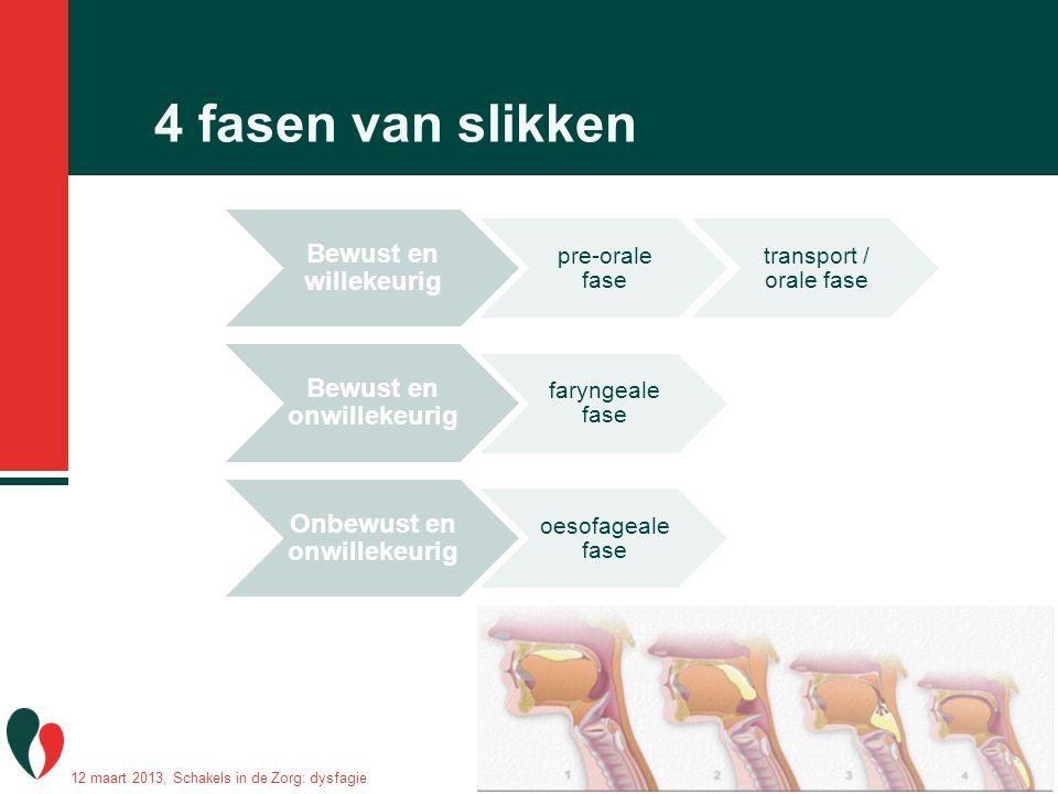 4 fasen van slikken Bewust en willekeurig pre-orale fase transport / orale fase Bewust en onwillekeurig faryngeale fase Onbewust en onwillekeurig oeso