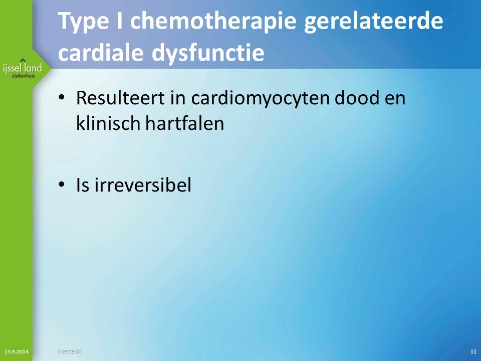 Type I chemotherapie gerelateerde cardiale dysfunctie Resulteert in cardiomyocyten dood en klinisch hartfalen Is irreversibel 13-9-2014 Voettekst11