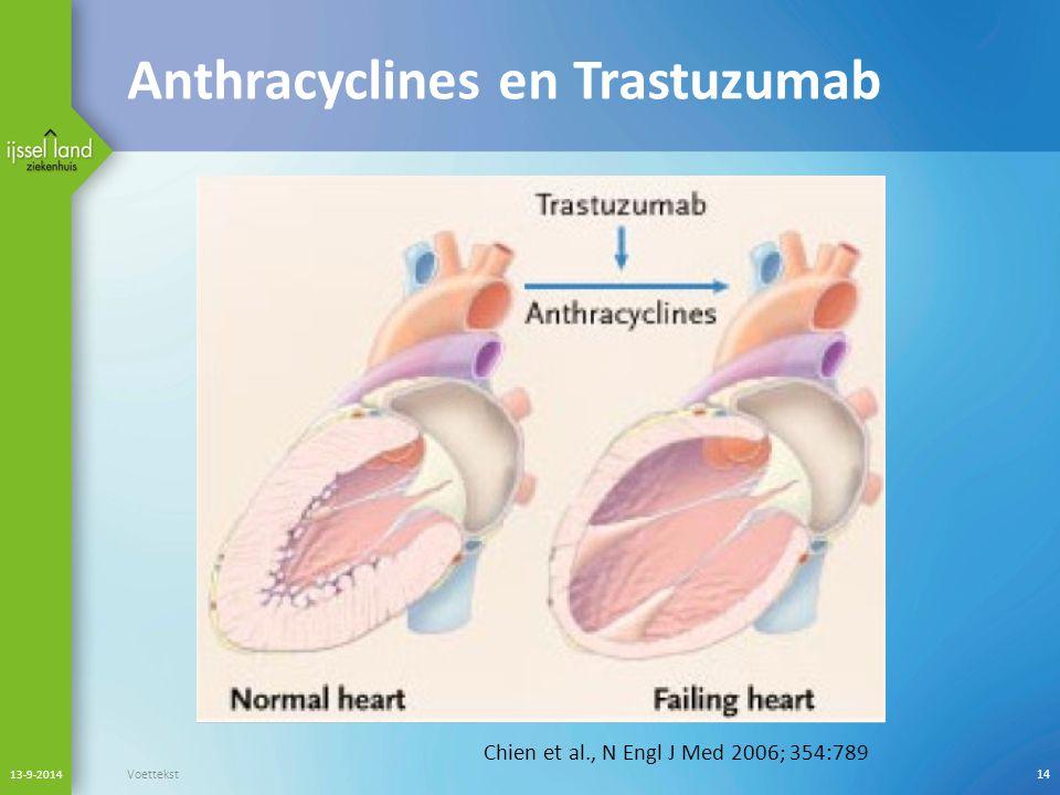 Anthracyclines en Trastuzumab 13-9-2014 Voettekst14 Chien et al., N Engl J Med 2006; 354:789
