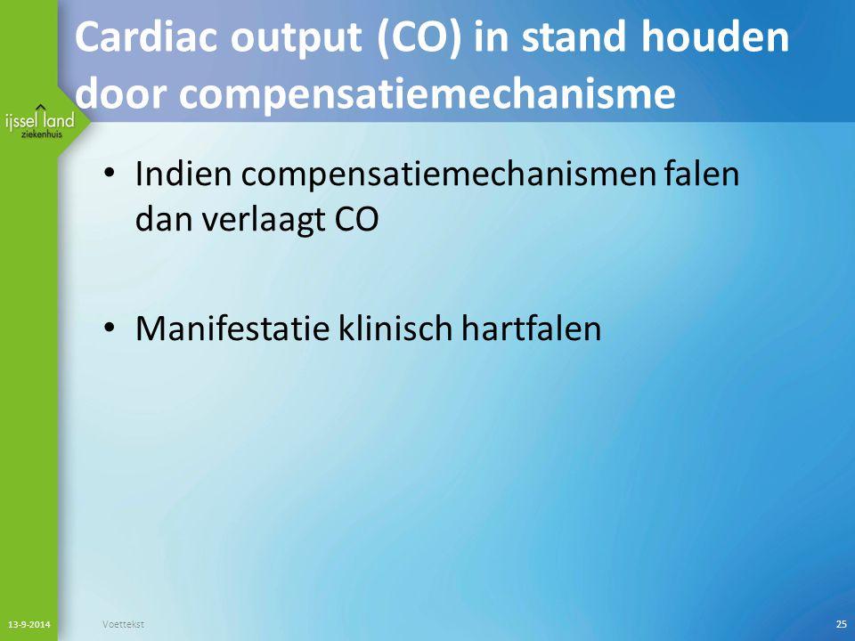Cardiac output (CO) in stand houden door compensatiemechanisme Indien compensatiemechanismen falen dan verlaagt CO Manifestatie klinisch hartfalen 13-