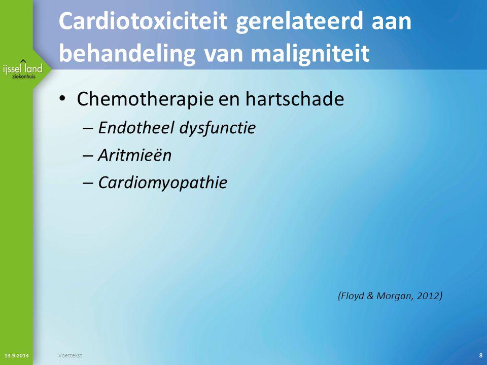 Cardiotoxiciteit gerelateerd aan behandeling van maligniteit Chemotherapie en hartschade – Endotheel dysfunctie – Aritmieën – Cardiomyopathie (Floyd &