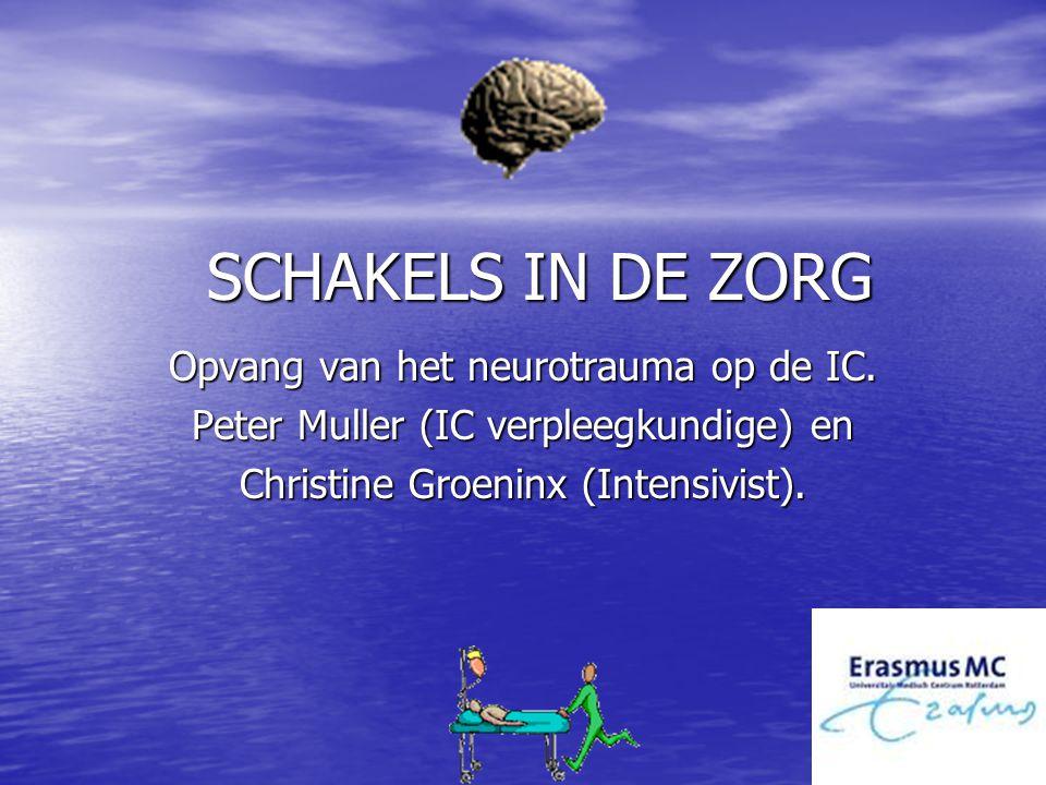 SCHAKELS IN DE ZORG Opvang van het neurotrauma op de IC. Peter Muller (IC verpleegkundige) en Christine Groeninx (Intensivist).