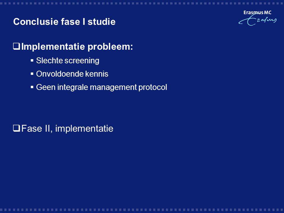Conclusie fase I studie  Implementatie probleem:  Slechte screening  Onvoldoende kennis  Geen integrale management protocol  Fase II, implementat
