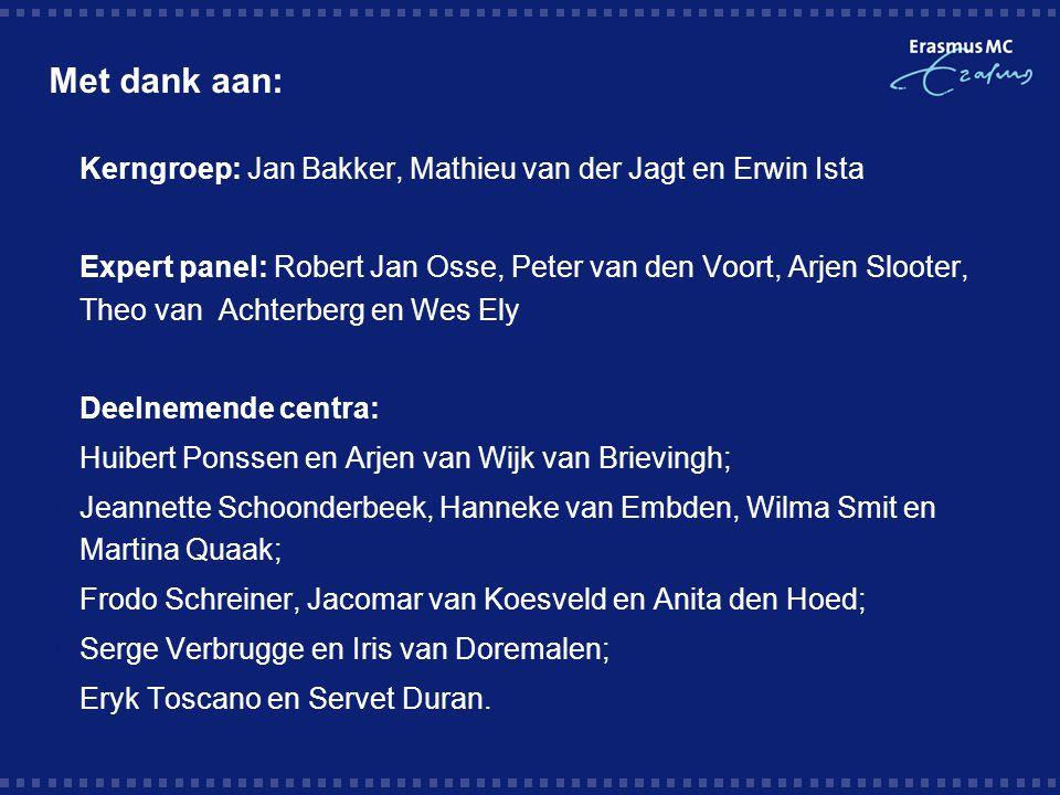 Met dank aan: KKerngroep: Jan Bakker, Mathieu van der Jagt en Erwin Ista EExpert panel: Robert Jan Osse, Peter van den Voort, Arjen Slooter, Theo
