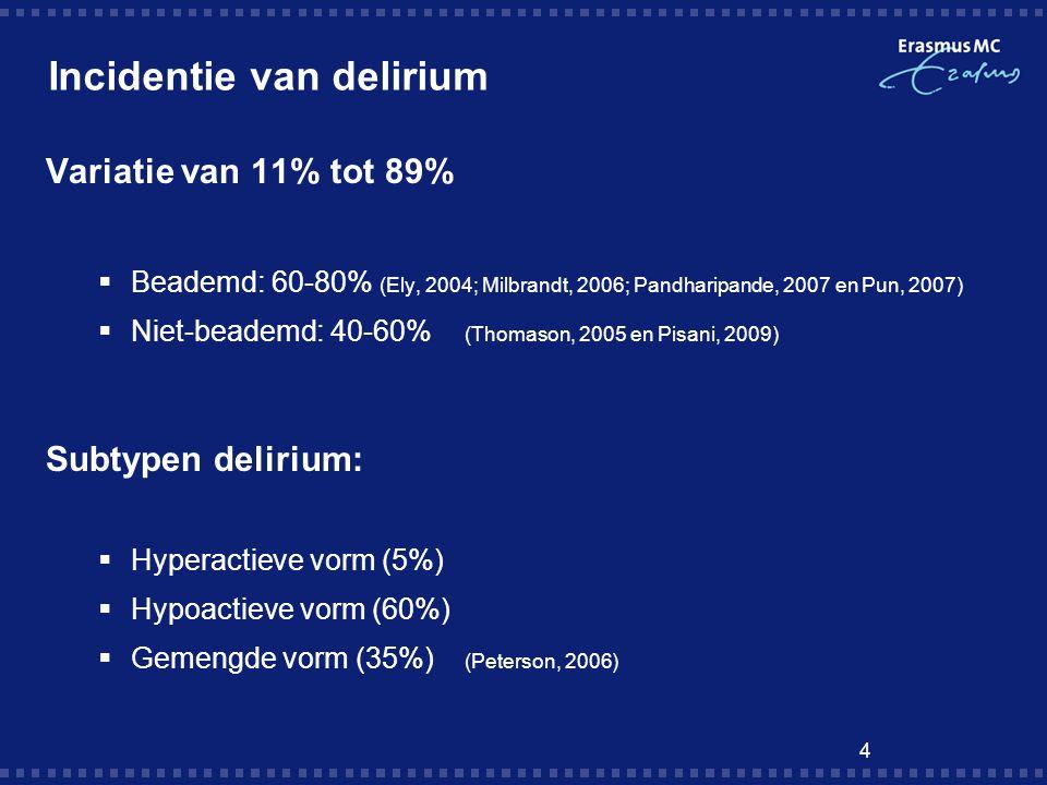 4 Incidentie van delirium Variatie van 11% tot 89%  Beademd: 60-80% (Ely, 2004; Milbrandt, 2006; Pandharipande, 2007 en Pun, 2007)  Niet-beademd: 40-60% (Thomason, 2005 en Pisani, 2009) Subtypen delirium:  Hyperactieve vorm (5%)  Hypoactieve vorm (60%)  Gemengde vorm (35%) (Peterson, 2006)