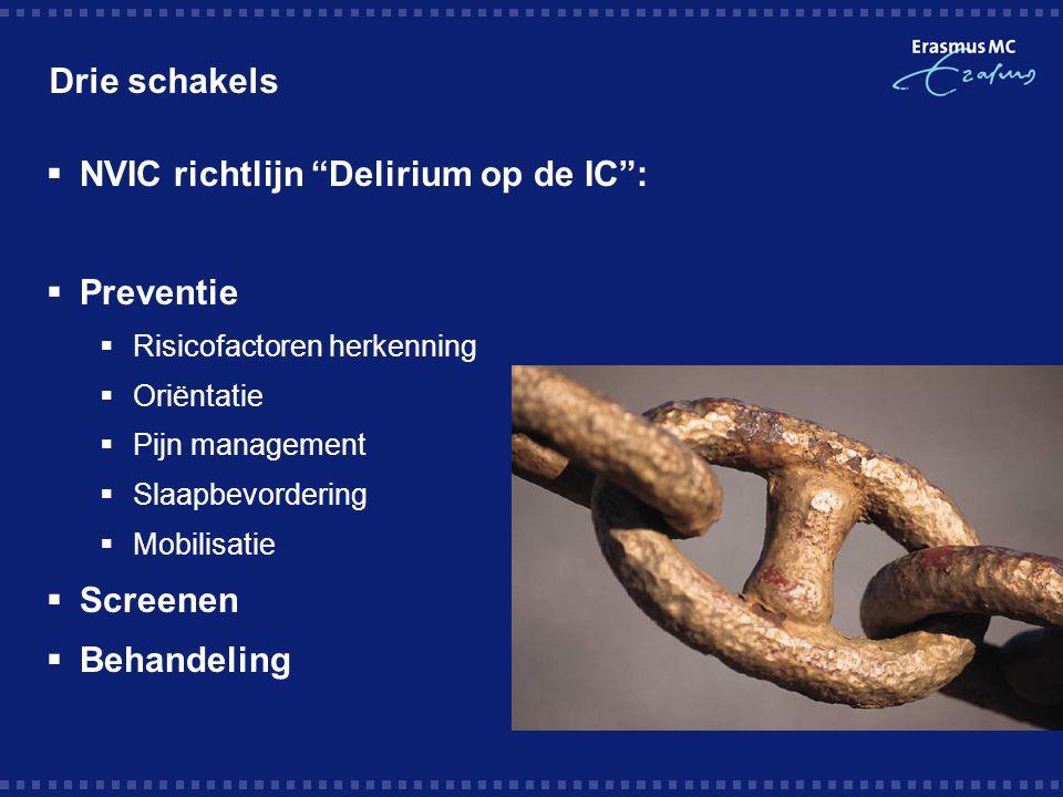 """Drie schakels  NVIC richtlijn """"Delirium op de IC"""":  Preventie  Risicofactoren herkenning  Oriëntatie  Pijn management  Slaapbevordering  Mobili"""