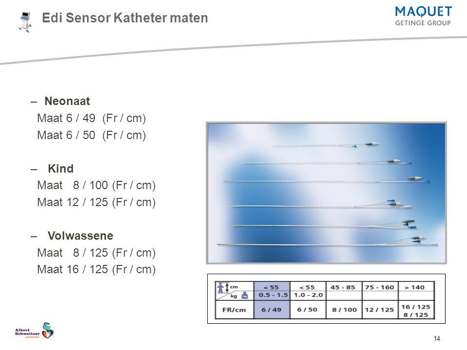 14 –Neonaat Maat 6 / 49 (Fr / cm) Maat 6 / 50 (Fr / cm) – Kind Maat 8 / 100 (Fr / cm) Maat 12 / 125 (Fr / cm) – Volwassene Maat 8 / 125 (Fr / cm) Maat