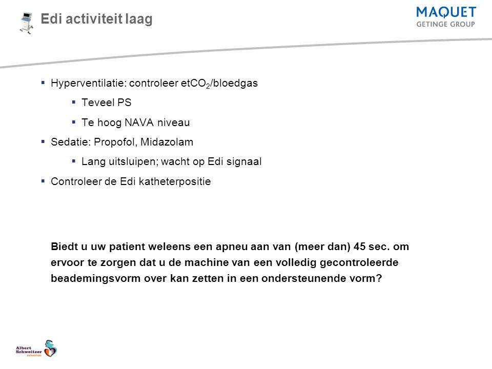Edi activiteit laag  Hyperventilatie: controleer etCO 2 /bloedgas  Teveel PS  Te hoog NAVA niveau  Sedatie: Propofol, Midazolam  Lang uitsluipen;