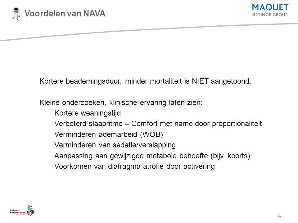 24 Voordelen van NAVA Kortere beademingsduur, minder mortaliteit is NIET aangetoond. Kleine onderzoeken, klinische ervaring laten zien: Kortere weanin
