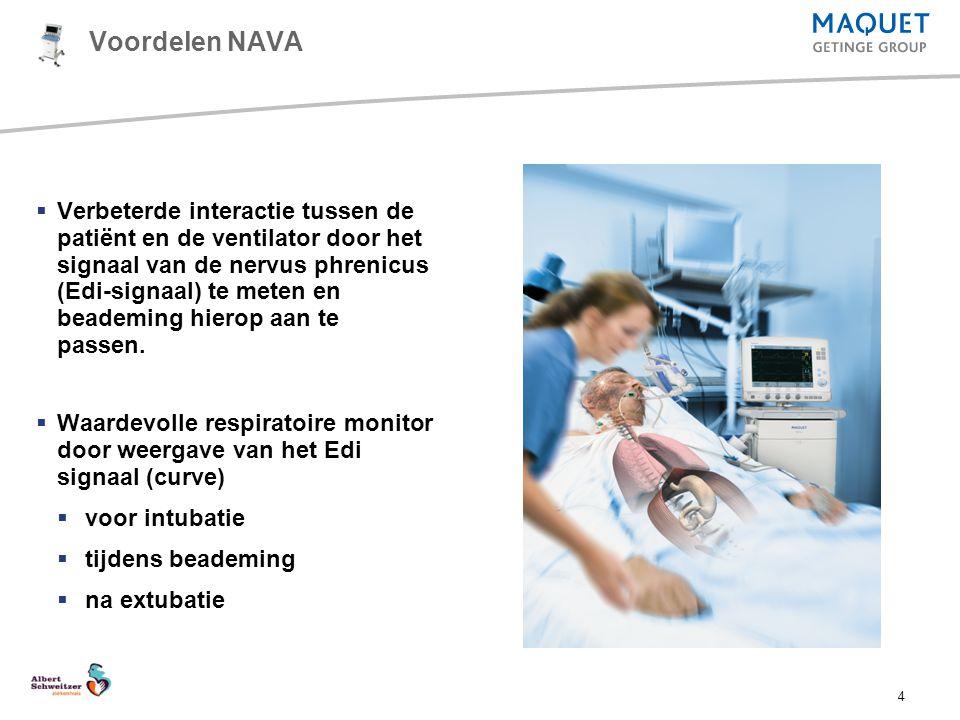 4 Voordelen NAVA  Verbeterde interactie tussen de patiënt en de ventilator door het signaal van de nervus phrenicus (Edi-signaal) te meten en beademi
