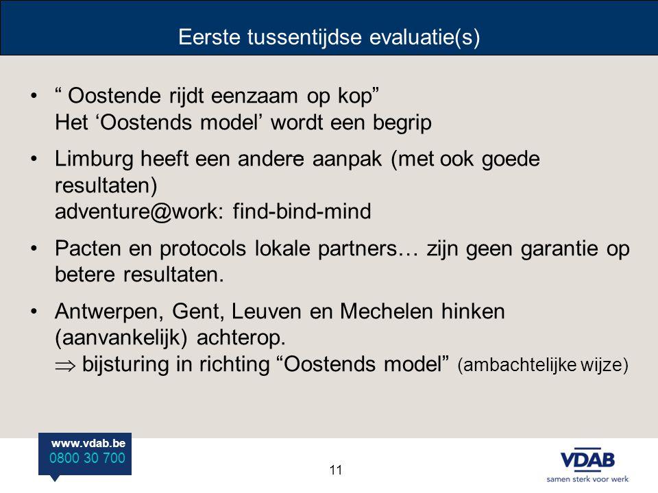 """www.vdab.be 0800 30 700 Eerste tussentijdse evaluatie(s) """" Oostende rijdt eenzaam op kop"""" Het 'Oostends model' wordt een begrip Limburg heeft een ande"""