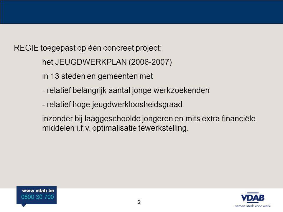 www.vdab.be 0800 30 700 REGIE toegepast op één concreet project: het JEUGDWERKPLAN (2006-2007) in 13 steden en gemeenten met - relatief belangrijk aan