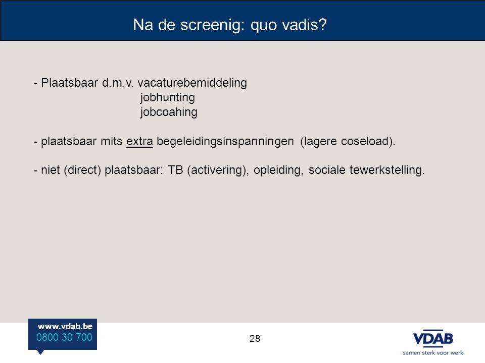 www.vdab.be 0800 30 700 Na de screenig: quo vadis? - Plaatsbaar d.m.v. vacaturebemiddeling jobhunting jobcoahing - plaatsbaar mits extra begeleidingsi