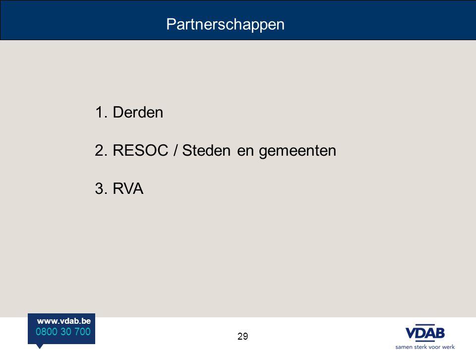 www.vdab.be 0800 30 700 Partnerschappen 1.Derden 2.RESOC / Steden en gemeenten 3.RVA 29