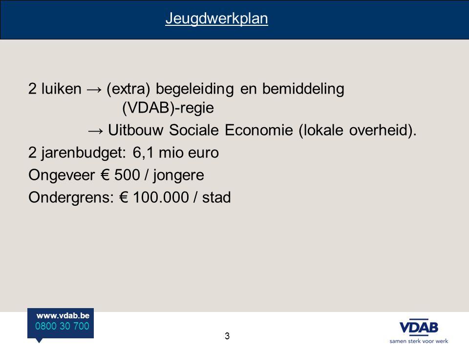 www.vdab.be 0800 30 700 2 luiken → (extra) begeleiding en bemiddeling (VDAB)-regie → Uitbouw Sociale Economie (lokale overheid). 2 jarenbudget: 6,1 mi