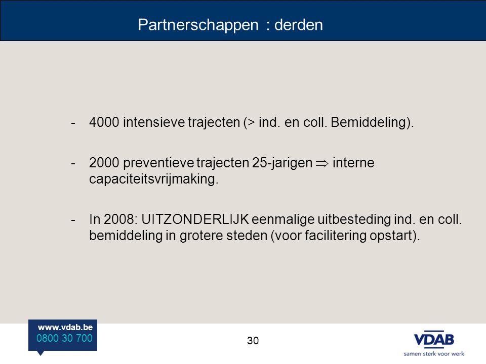 www.vdab.be 0800 30 700 Partnerschappen : derden -4000 intensieve trajecten (> ind. en coll. Bemiddeling). -2000 preventieve trajecten 25-jarigen  in