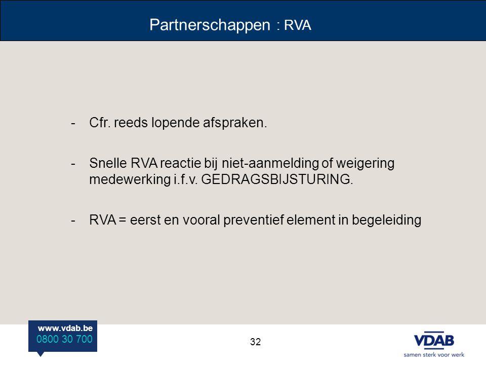 www.vdab.be 0800 30 700 Partnerschappen : RVA -Cfr. reeds lopende afspraken. -Snelle RVA reactie bij niet-aanmelding of weigering medewerking i.f.v. G