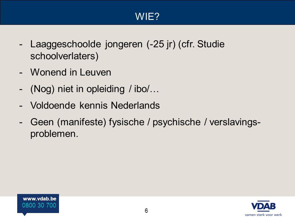 www.vdab.be 0800 30 700 WIE? -Laaggeschoolde jongeren (-25 jr) (cfr. Studie schoolverlaters) -Wonend in Leuven -(Nog) niet in opleiding / ibo/… -Voldo
