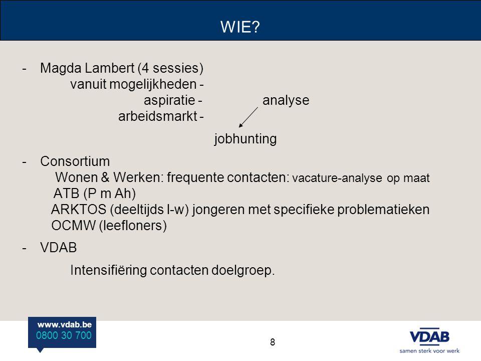 www.vdab.be 0800 30 700 WIE? -Magda Lambert (4 sessies) vanuit mogelijkheden - aspiratie -analyse arbeidsmarkt - jobhunting -Consortium Wonen & Werken