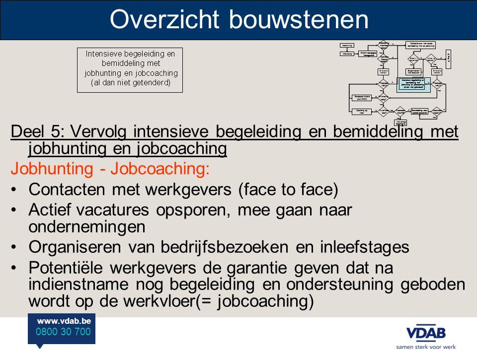 www.vdab.be 0800 30 700 Overzicht bouwstenen Deel 5: Vervolg intensieve begeleiding en bemiddeling met jobhunting en jobcoaching Jobhunting - Jobcoach