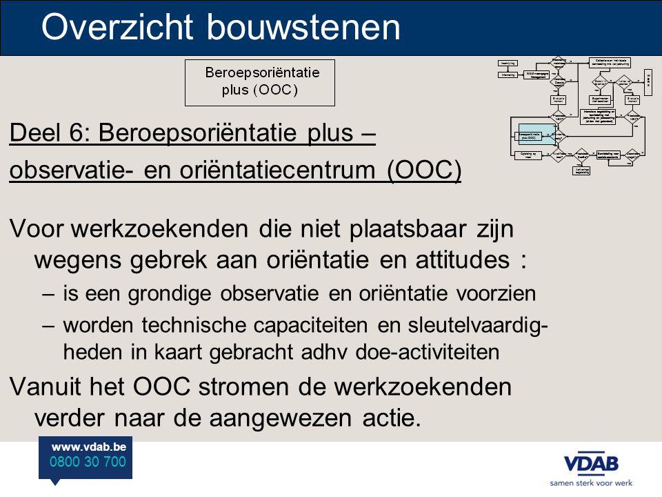 www.vdab.be 0800 30 700 Overzicht bouwstenen Deel 6: Beroepsoriëntatie plus – observatie- en oriëntatiecentrum (OOC) Voor werkzoekenden die niet plaat