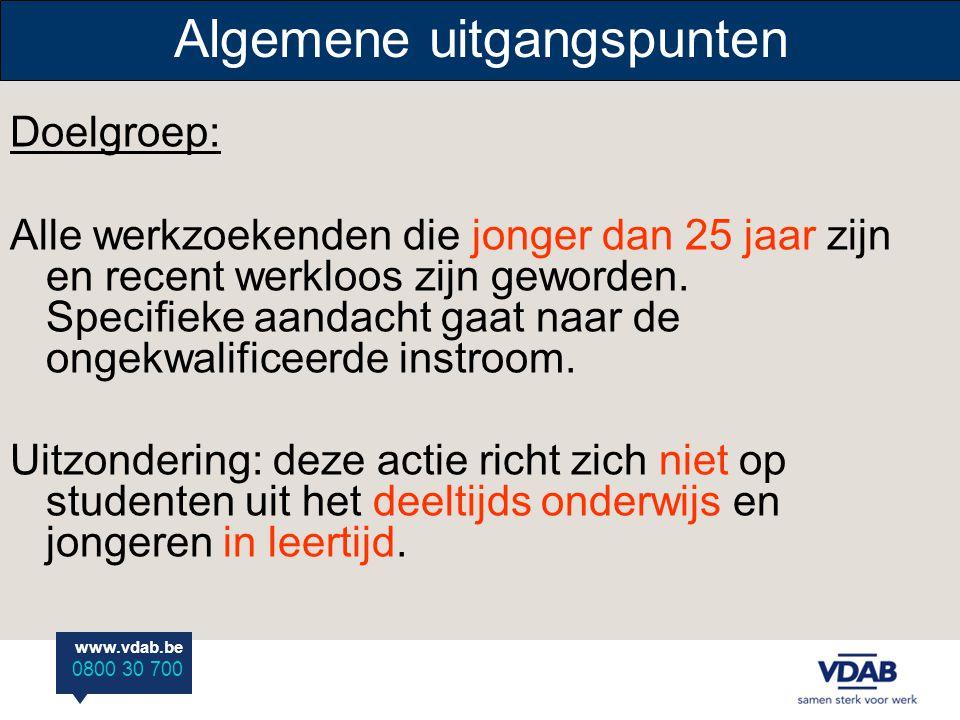 www.vdab.be 0800 30 700 Algemene uitgangspunten Doelgroep: Alle werkzoekenden die jonger dan 25 jaar zijn en recent werkloos zijn geworden. Specifieke