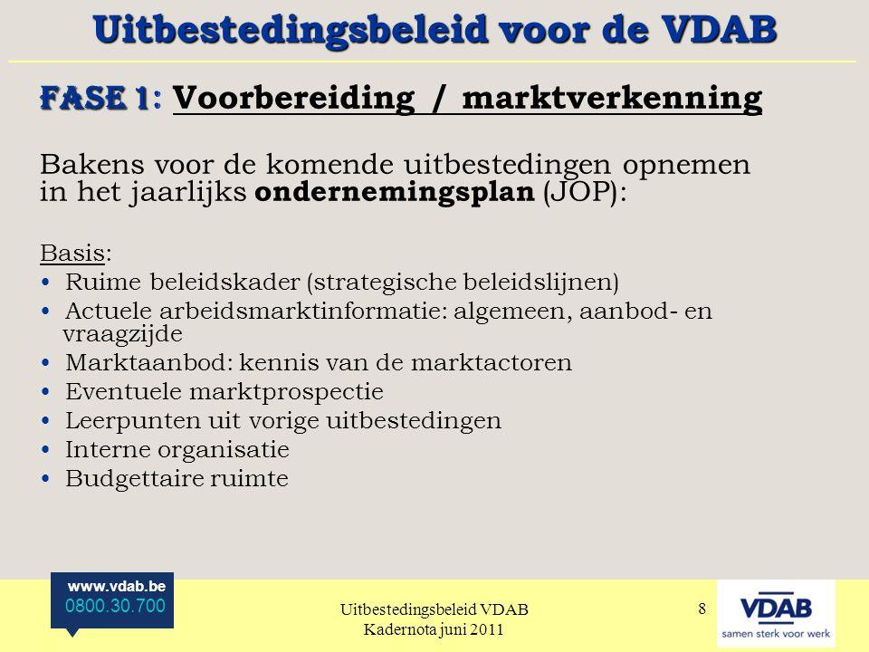 www.vdab.be 0800.30.700 Uitbestedingsbeleid VDAB Kadernota juni 2011 9 FASE 2 FASE 2: Beslissing Vertaling voorbereidende fase in concrete doelstellingen en programmapunten.