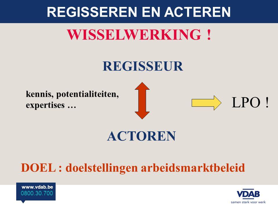 www.vdab.be 0800.30.700 REGISSEREN EN ACTEREN REGISSEUR ACTOREN WISSELWERKING ! DOEL : doelstellingen arbeidsmarktbeleid kennis, potentialiteiten, exp