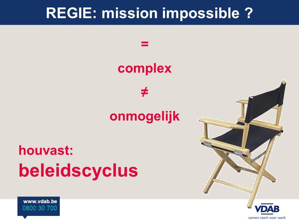 www.vdab.be 0800 30 700 REGIE: mission impossible ? = complex ≠ onmogelijk houvast: beleidscyclus