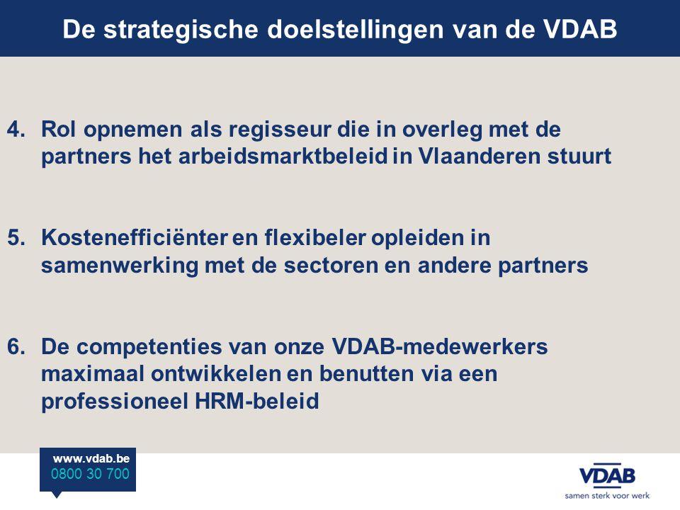 www.vdab.be 0800 30 700 De strategische doelstellingen van de VDAB 4.Rol opnemen als regisseur die in overleg met de partners het arbeidsmarktbeleid in Vlaanderen stuurt 5.Kostenefficiënter en flexibeler opleiden in samenwerking met de sectoren en andere partners 6.De competenties van onze VDAB-medewerkers maximaal ontwikkelen en benutten via een professioneel HRM-beleid