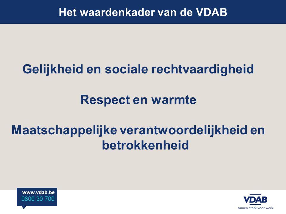 www.vdab.be 0800 30 700 Het waardenkader van de VDAB Gelijkheid en sociale rechtvaardigheid Respect en warmte Maatschappelijke verantwoordelijkheid en betrokkenheid