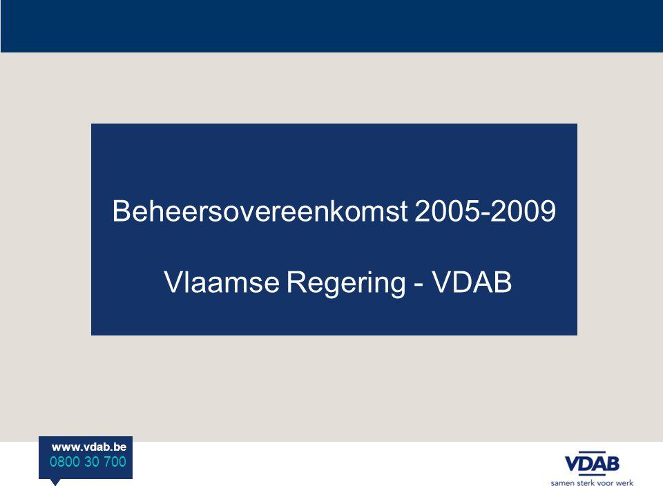 www.vdab.be 0800 30 700 www.vdab.be 0800.30.700 www.vdab.be 0800 30 700 Beheersovereenkomst 2005-2009 Vlaamse Regering - VDAB