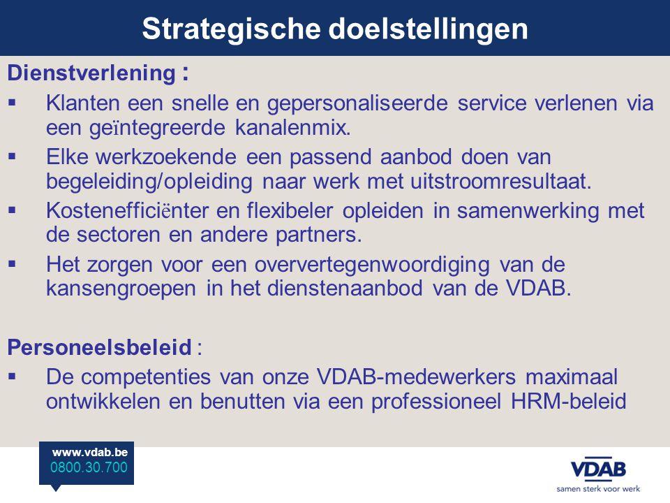 www.vdab.be 0800 30 700 www.vdab.be 0800.30.700 Dienstverlening :  Klanten een snelle en gepersonaliseerde service verlenen via een ge ï ntegreerde kanalenmix.