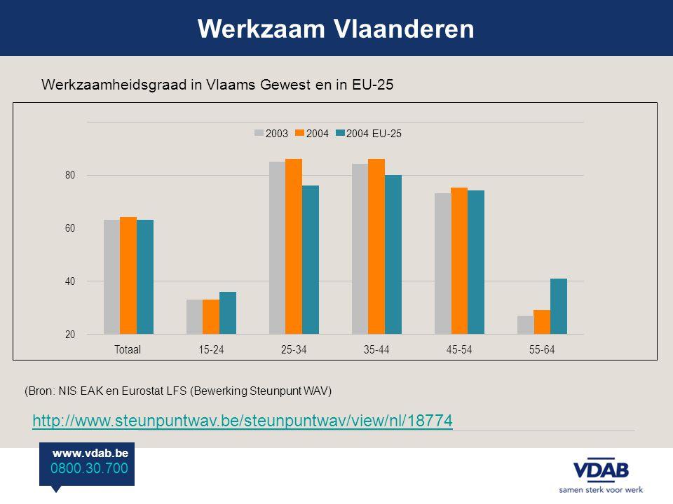 www.vdab.be 0800 30 700 www.vdab.be 0800.30.700 (Bron: NIS EAK en Eurostat LFS (Bewerking Steunpunt WAV) Werkzaamheidsgraad in Vlaams Gewest en in EU-25 Totaal15-2425-3435-4445-5455-64 20 40 60 80 200320042004 EU-25 http://www.steunpuntwav.be/steunpuntwav/view/nl/18774 Werkzaam Vlaanderen