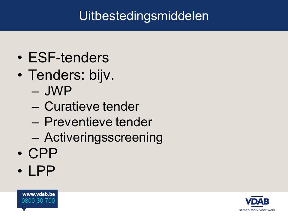 www.vdab.be 0800 30 700 ESF-tenders Tenders: bijv.