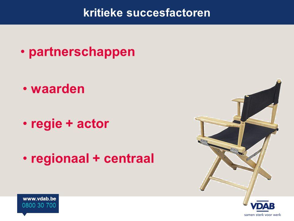 www.vdab.be 0800 30 700 kritieke succesfactoren partnerschappen waarden regionaal + centraal regie + actor