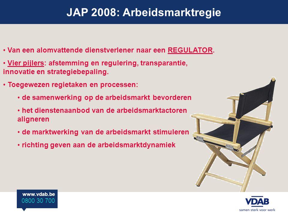 JAP 2008: Arbeidsmarktregie www.vdab.be 0800 30 700 Van een alomvattende dienstverlener naar een REGULATOR.