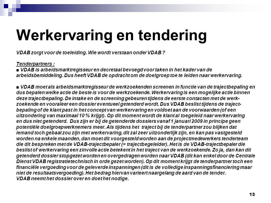 13 Werkervaring en tendering VDAB zorgt voor de toeleiding.