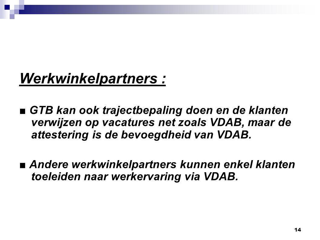 14 Werkwinkelpartners : ■ GTB kan ook trajectbepaling doen en de klanten verwijzen op vacatures net zoals VDAB, maar de attestering is de bevoegdheid van VDAB.