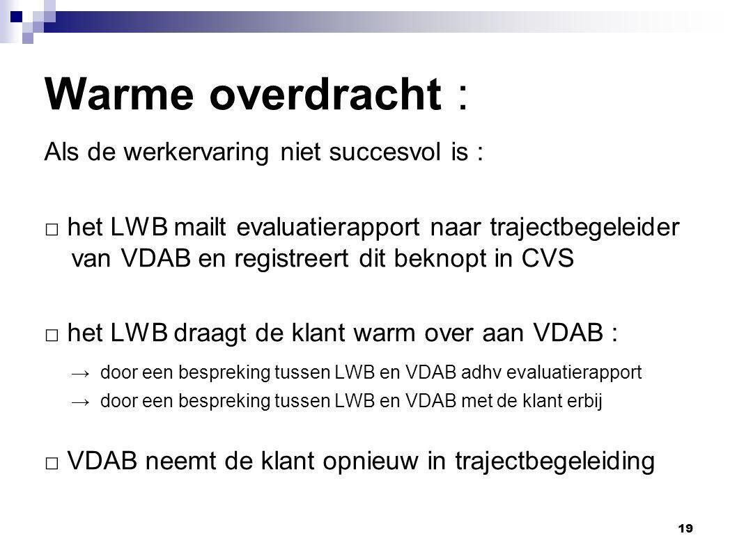 19 Warme overdracht : Als de werkervaring niet succesvol is : □ het LWB mailt evaluatierapport naar trajectbegeleider van VDAB en registreert dit beknopt in CVS □ het LWB draagt de klant warm over aan VDAB : → door een bespreking tussen LWB en VDAB adhv evaluatierapport → door een bespreking tussen LWB en VDAB met de klant erbij □ VDAB neemt de klant opnieuw in trajectbegeleiding