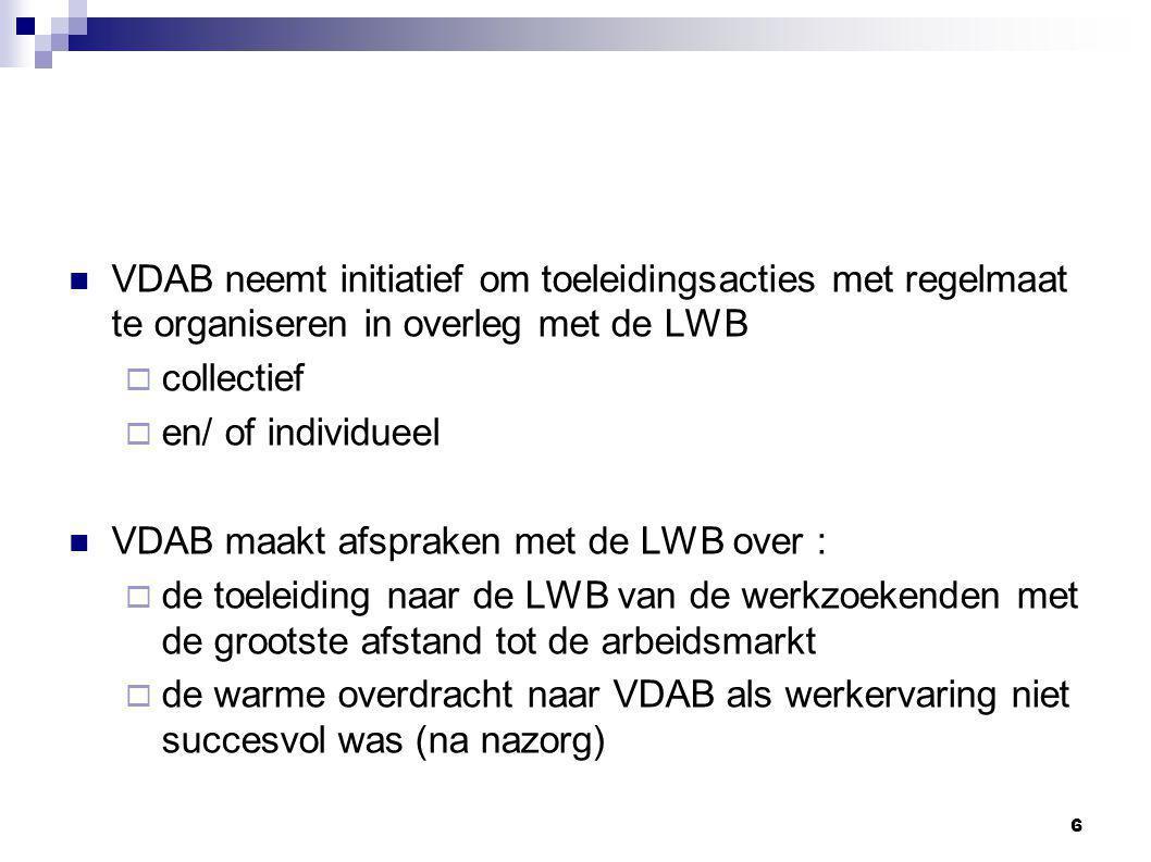 6 VDAB neemt initiatief om toeleidingsacties met regelmaat te organiseren in overleg met de LWB  collectief  en/ of individueel VDAB maakt afspraken met de LWB over :  de toeleiding naar de LWB van de werkzoekenden met de grootste afstand tot de arbeidsmarkt  de warme overdracht naar VDAB als werkervaring niet succesvol was (na nazorg)