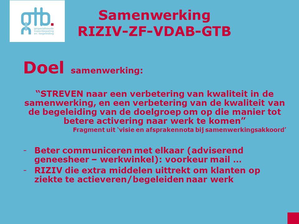 "Samenwerking RIZIV-ZF-VDAB-GTB Doel samenwerking: ""STREVEN naar een verbetering van kwaliteit in de samenwerking, en een verbetering van de kwaliteit"