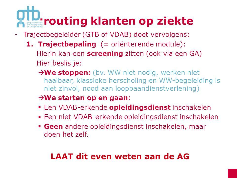 routing klanten op ziekte -Trajectbegeleider (GTB of VDAB) doet vervolgens: 1.Trajectbepaling (= oriënterende module): Hierin kan een screening zitten