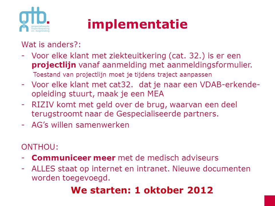 implementatie Wat is anders?: -Voor elke klant met ziekteuitkering (cat. 32.) is er een projectlijn vanaf aanmelding met aanmeldingsformulier. Toestan