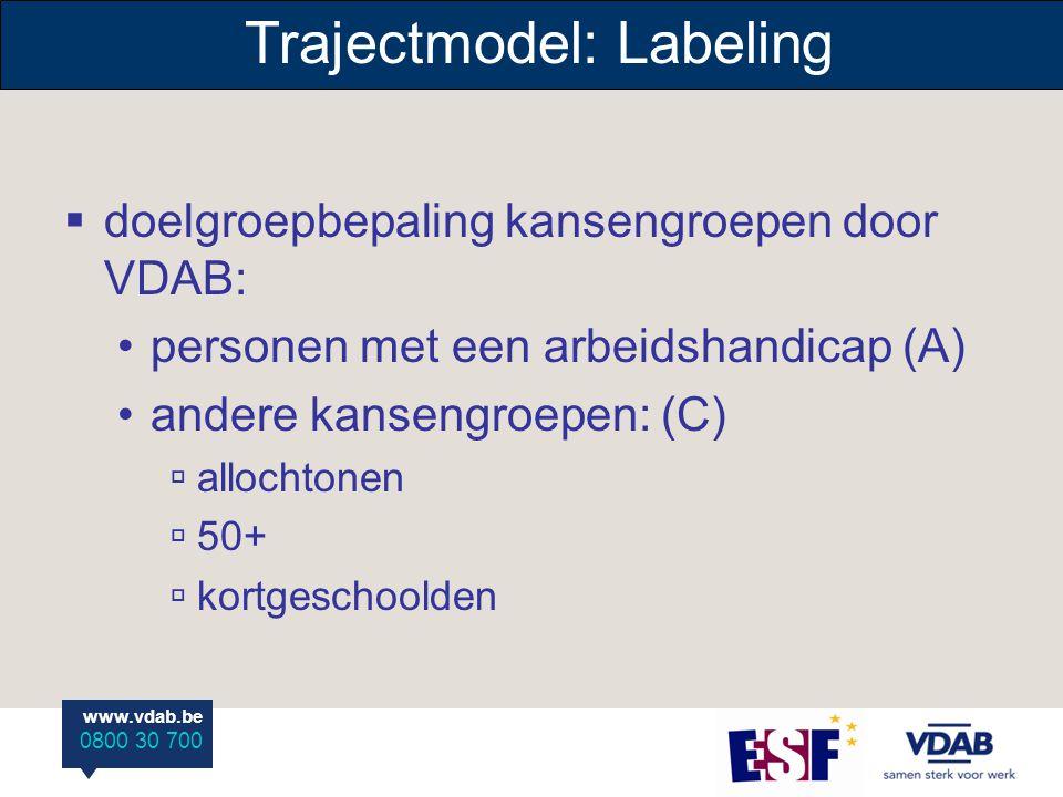www.vdab.be 0800 30 700 Trajectmodel: Labeling  doelgroepbepaling kansengroepen door VDAB: personen met een arbeidshandicap (A) andere kansengroepen: (C)  allochtonen  50+  kortgeschoolden