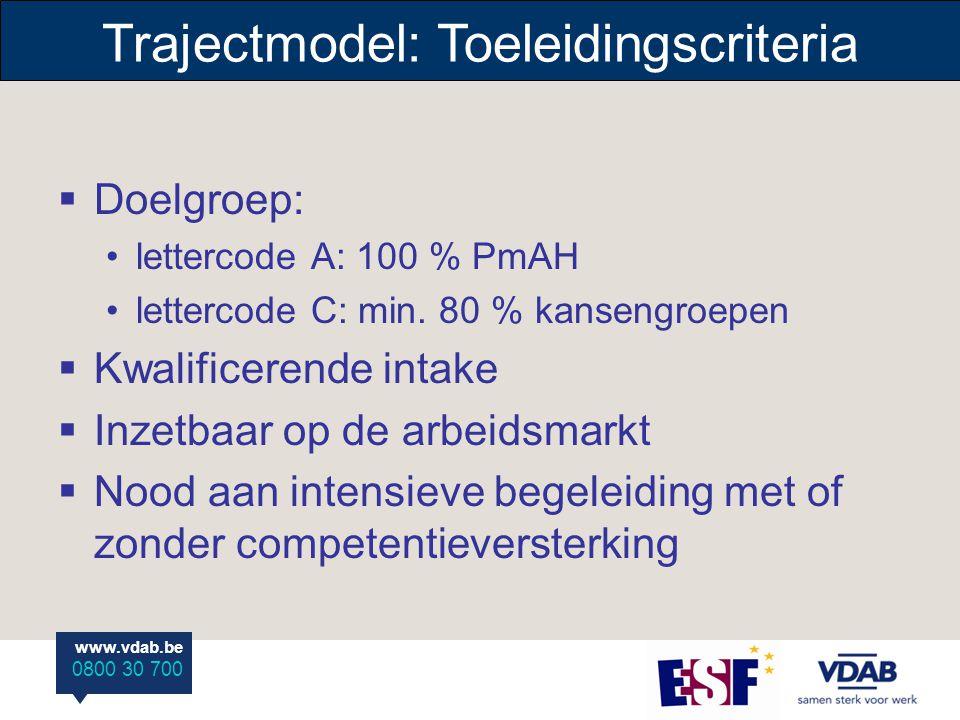 www.vdab.be 0800 30 700 Trajectmodel: Toeleidingscriteria  Doelgroep: lettercode A: 100 % PmAH lettercode C: min. 80 % kansengroepen  Kwalificerende